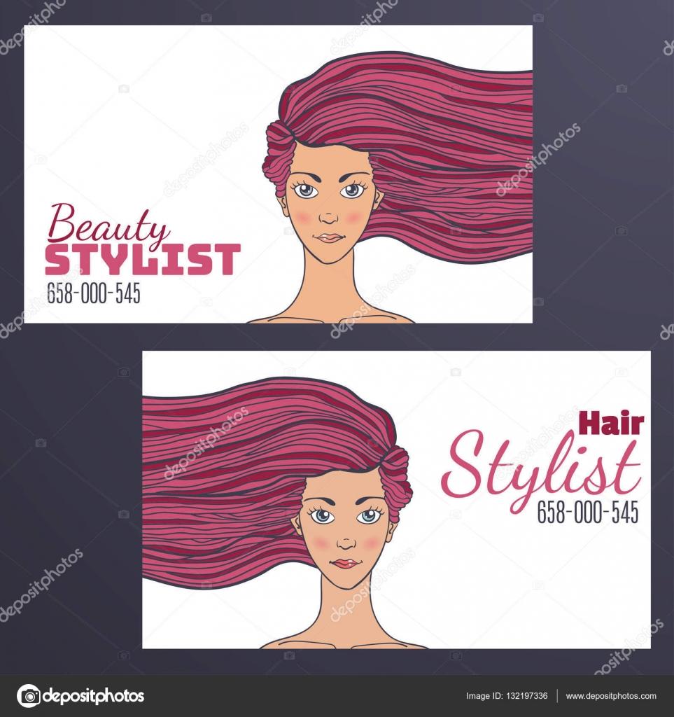 Carte De Visite Coiffeur Avec Une Photo Dune Belle Fille Le Developpement Des Cheveux Espace Vide Pour Votre Texte