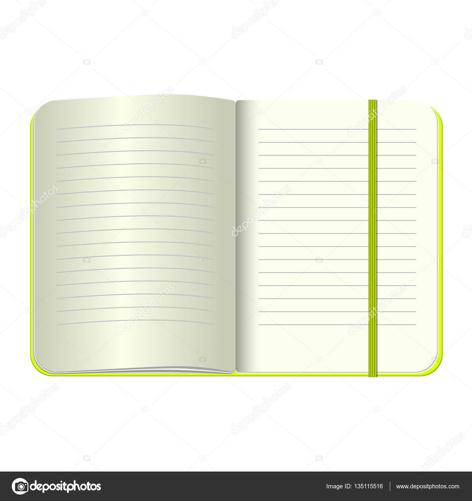Vorlage öffnen Sie ein leeres Editor. Vektor persönliches Notizbuch ...
