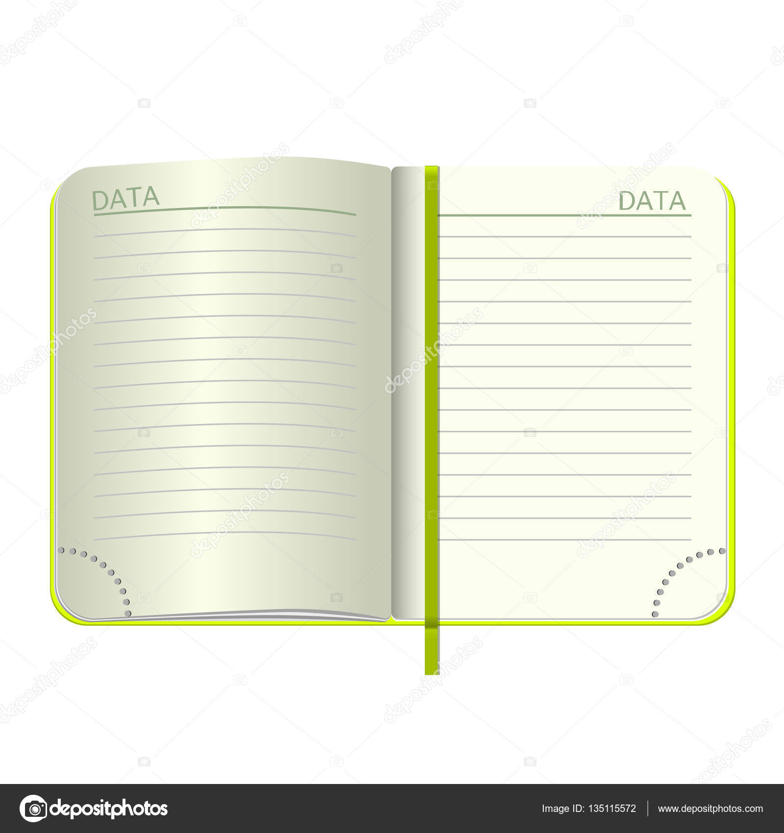 Template Open A Blank Notepad Vector Personal Notebook With Green