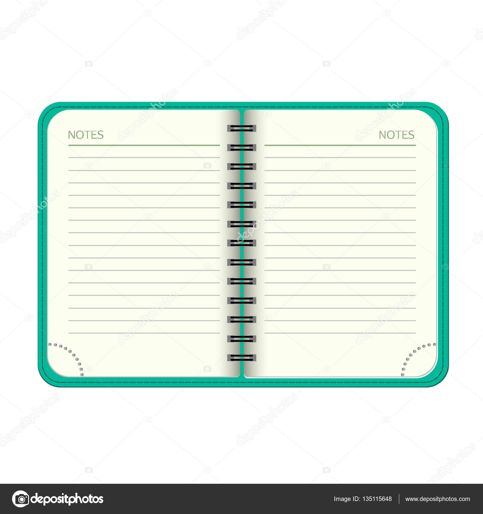 template open a blank notepad vector personal organiger with