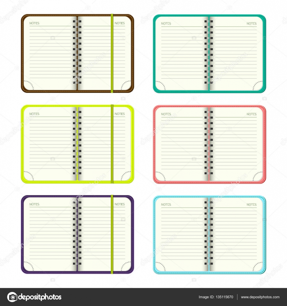 Set Of Template Open A Blank Notepad Vector Personal Organizer With