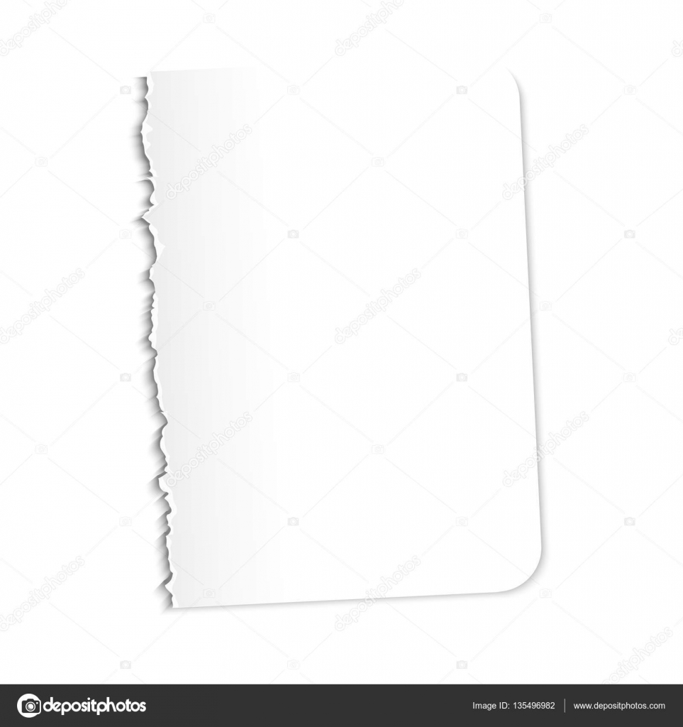 Blank Sheet Of Paper. Vector Illustration On A White Background. Ragged  Edge. U2014  Blank Sheet Of Paper With Lines