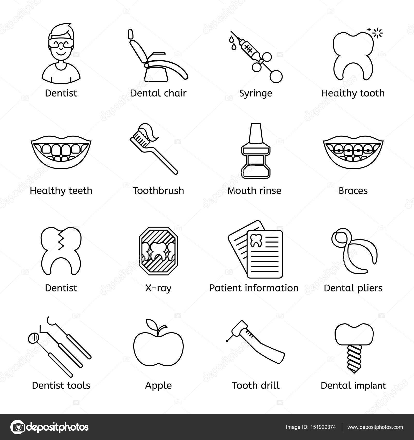 Set di dentale in stile moderno linea sottile simboli di for Semplice software di progettazione di mobili