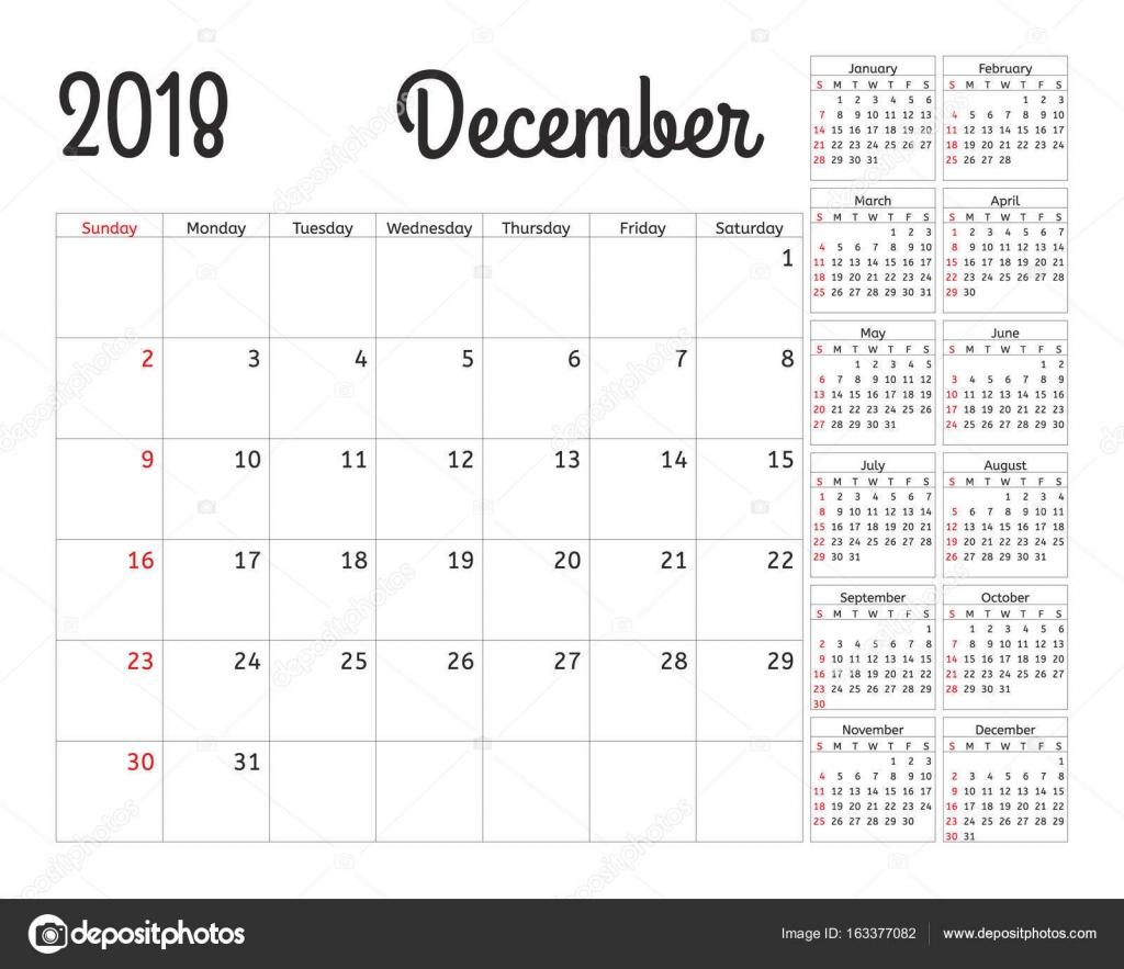 Einfache Kalender Planer für 2018 Jahr. Vektor-Design Dezember ...
