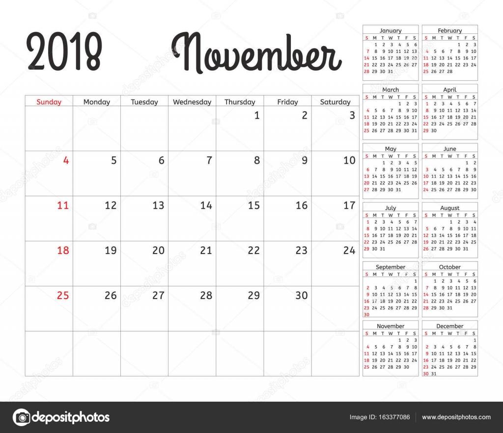 simple calendar planner for 2018 year vector design november template set of 12 months