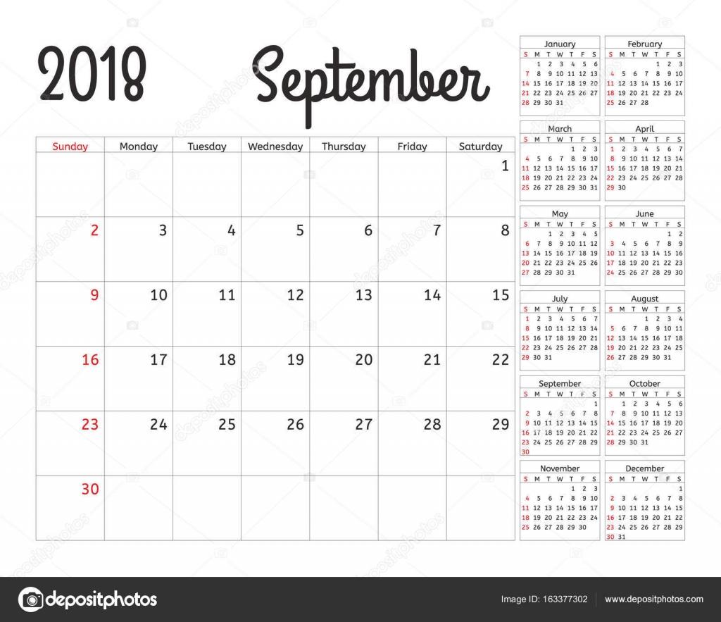 de calendario simple para el año 2018. Diseño vector plantilla de ...