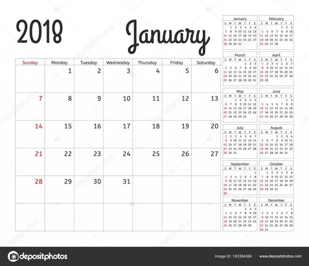 2018 年シンプル カレンダー プランナー。1 月テンプレートの