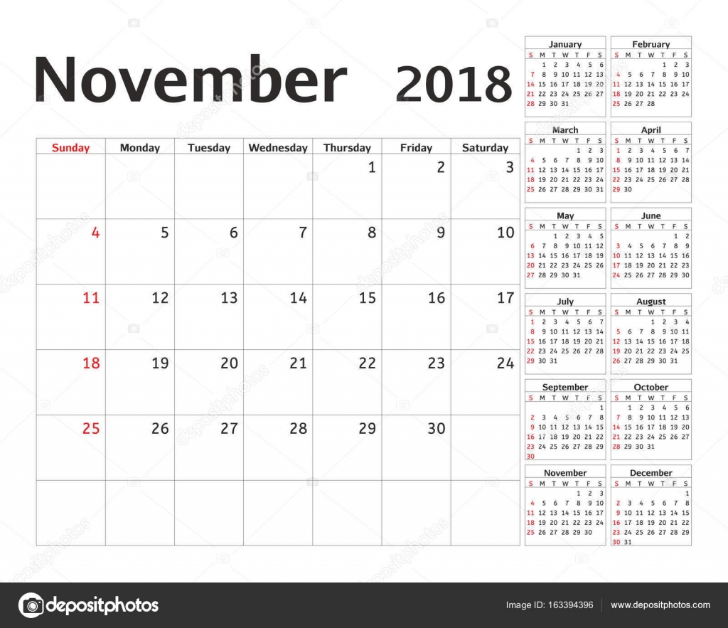simple calendar planner for 2018 year vector design november