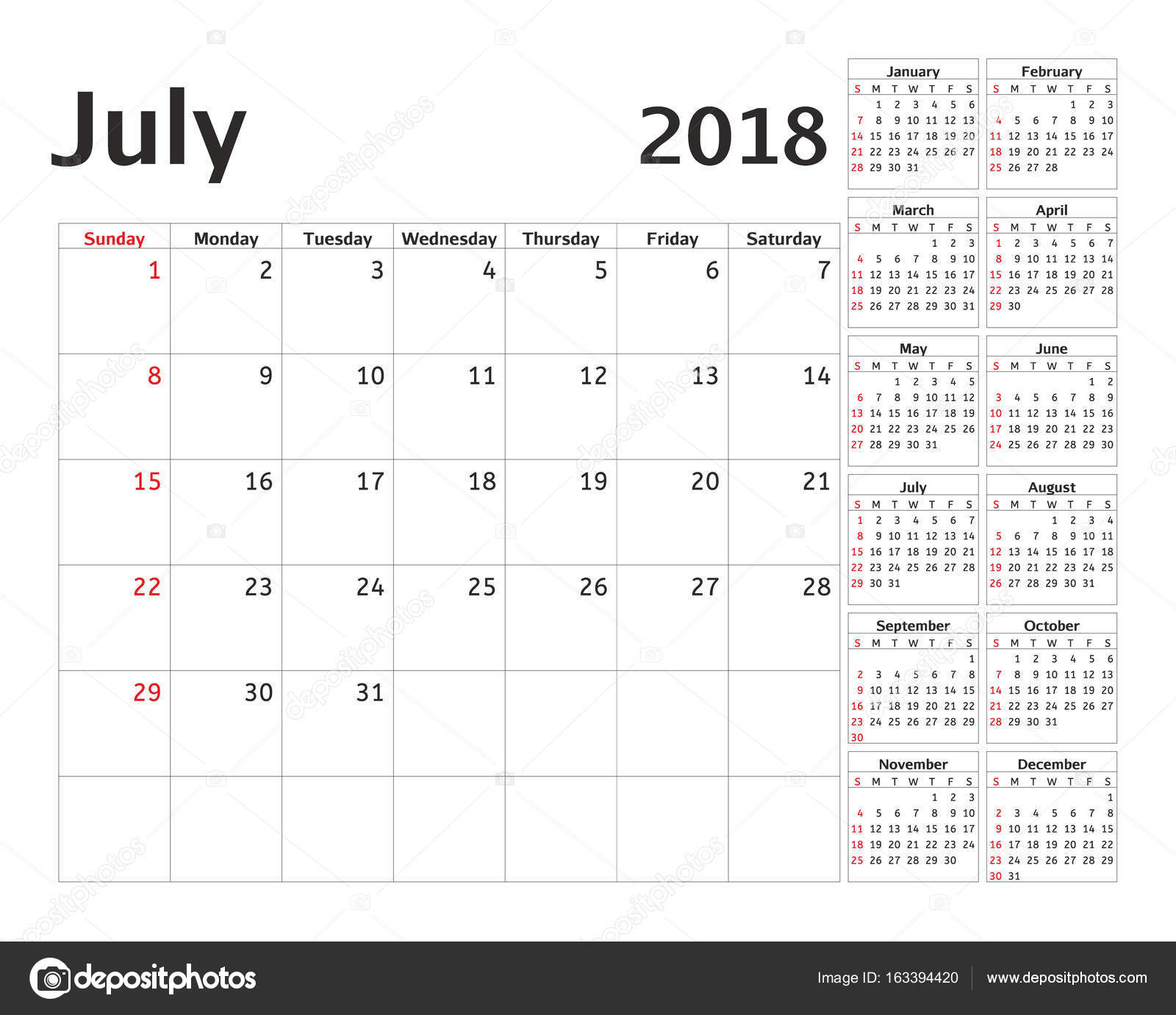 simple calendar planner for 2018 year vector design july template set of 12 months