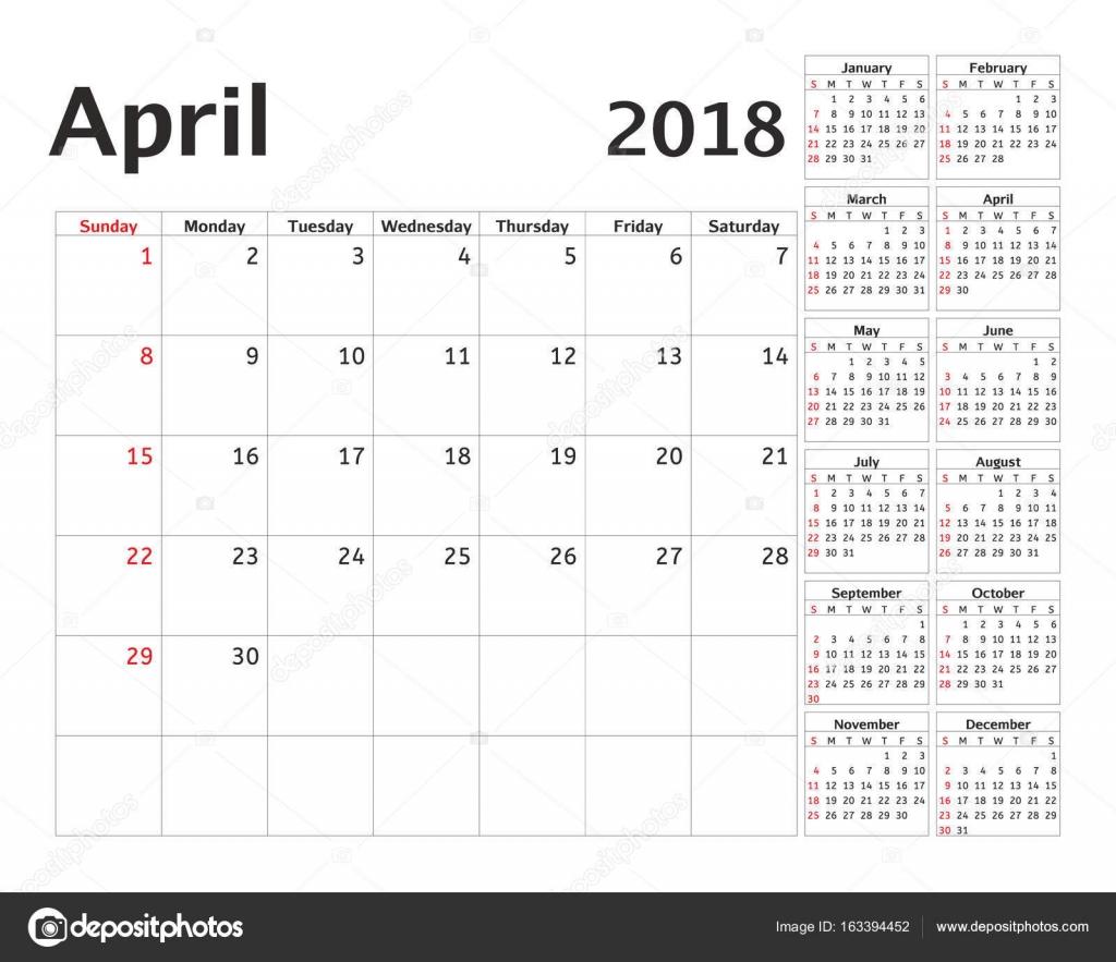 Planificador de calendario simple para el año 2018. Diseño vector ...