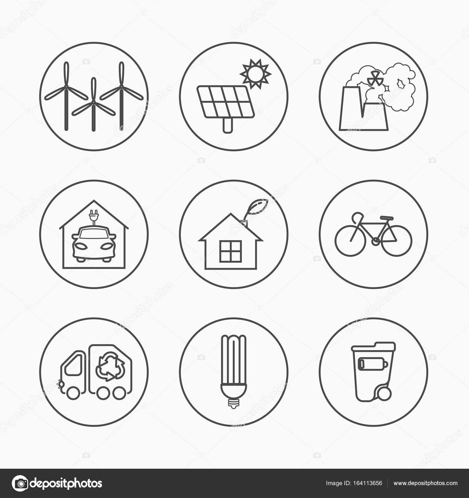Set di icone della eco indicazioni ecologiche linea for Sito web di progettazione della casa