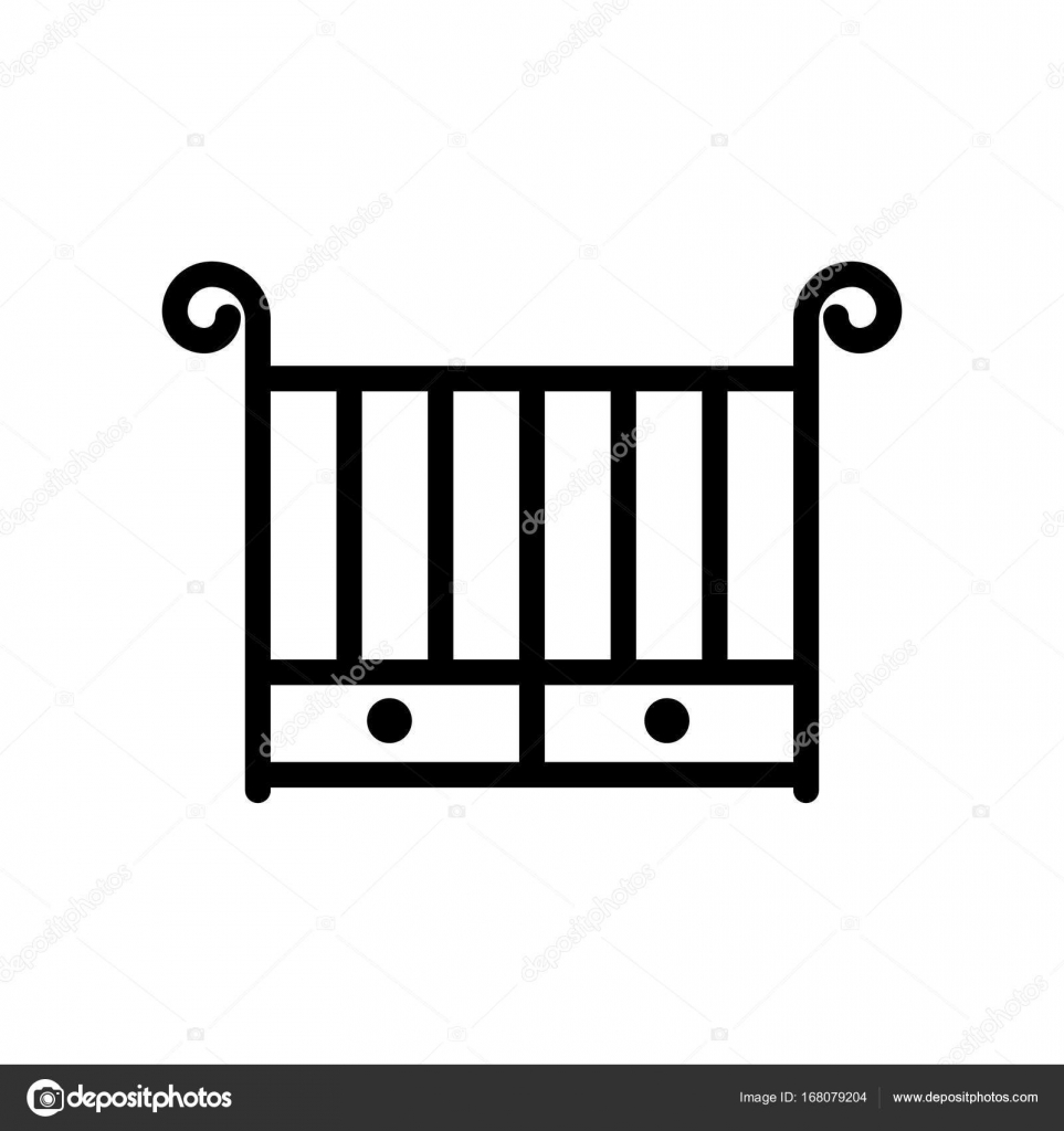Icono de la delgada línea del pesebre. Contorno de cuna de símbolo ...