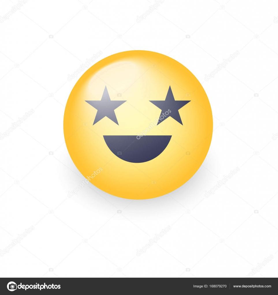 happy riant emoji visage aux yeux en forme dtoiles moticne vecteur de dessin anim amusant avec le sourire smiley jaune mignon pour lapplication et - Dessin Avec Emoji
