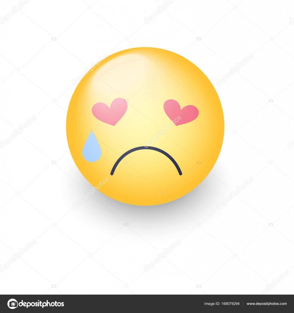 Smiley Apaixonado Triste Com Olhos Em Forma De Coração