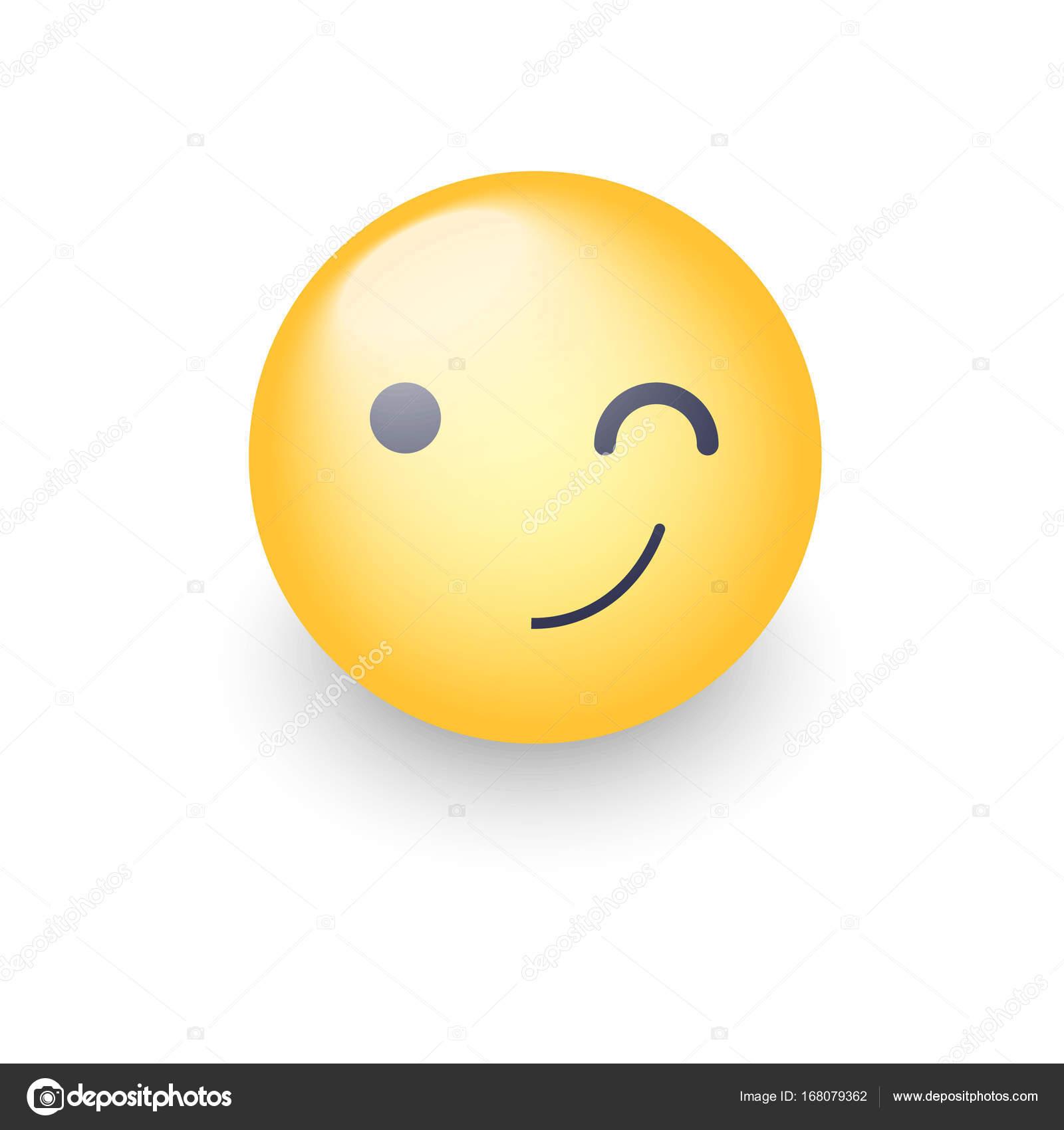 Un Clin De œil Amusant Dessin Anime Visage Emoji Clin D Oeil Et