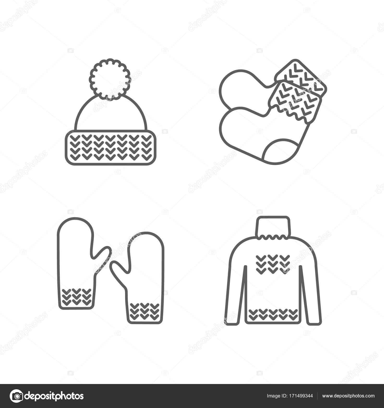 Conjunto de iconos de punto. Ropa de punto, de punto muestras ...