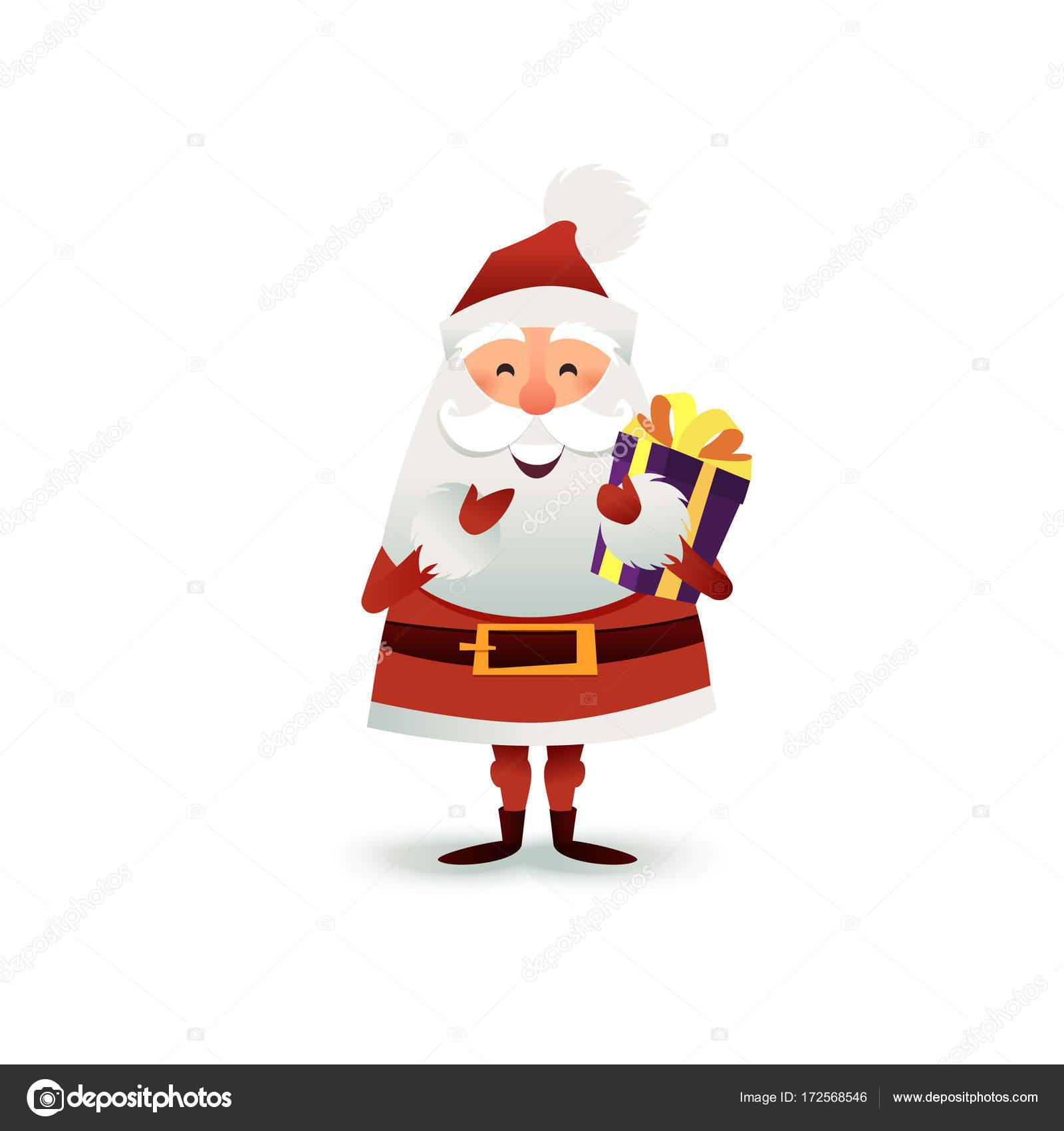 Babbo natale con regalo e confezione regalo. personaggio dei cartoni