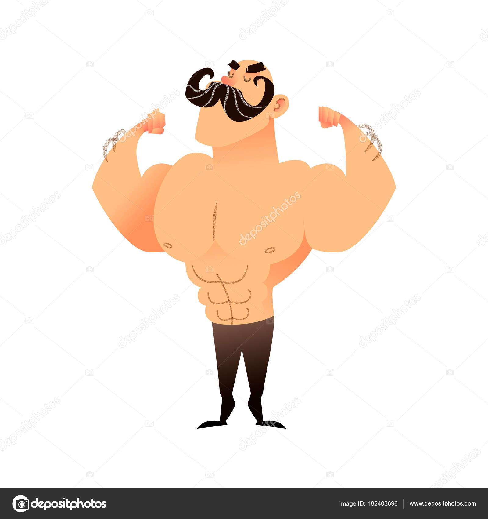 Cartoon muskulöser Mann mit einem Schnurrbart. Lustige athletischen ...