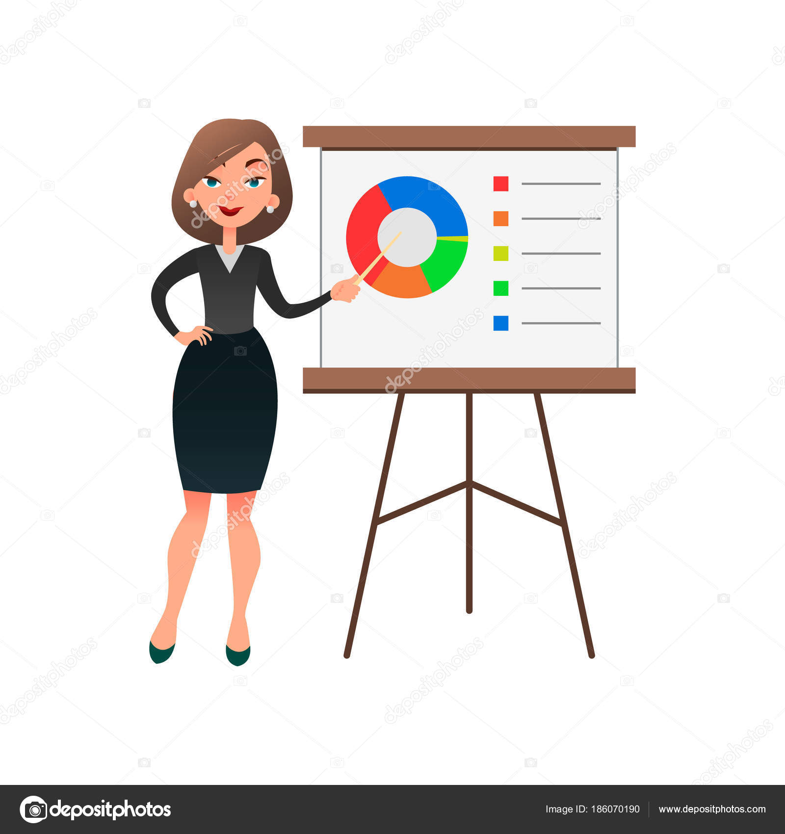 funny cartoon woman manager presenting whiteboard about financial