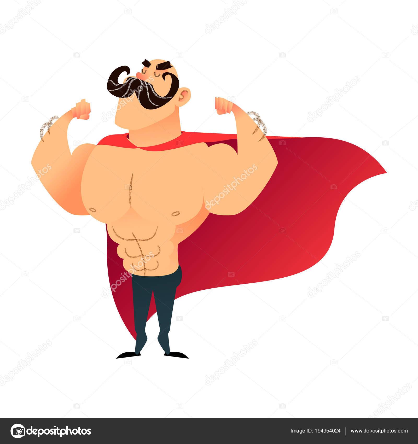 Starke Karikatur lustige Superhelden. Macht super Held Mann mit Kap ...