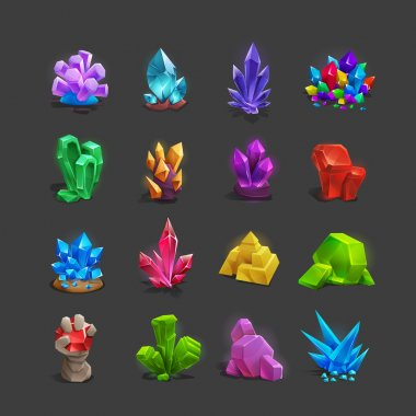 Set of cartoon crystals