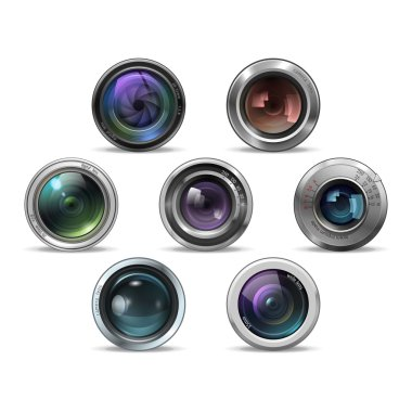 Set of colorful camera photo lenses