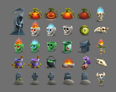 Set of colorful happy halloween icons