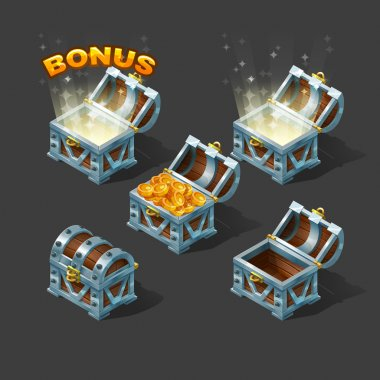 Cartoon colorful isometric chest set with bonus. Vector illustration. stock vector