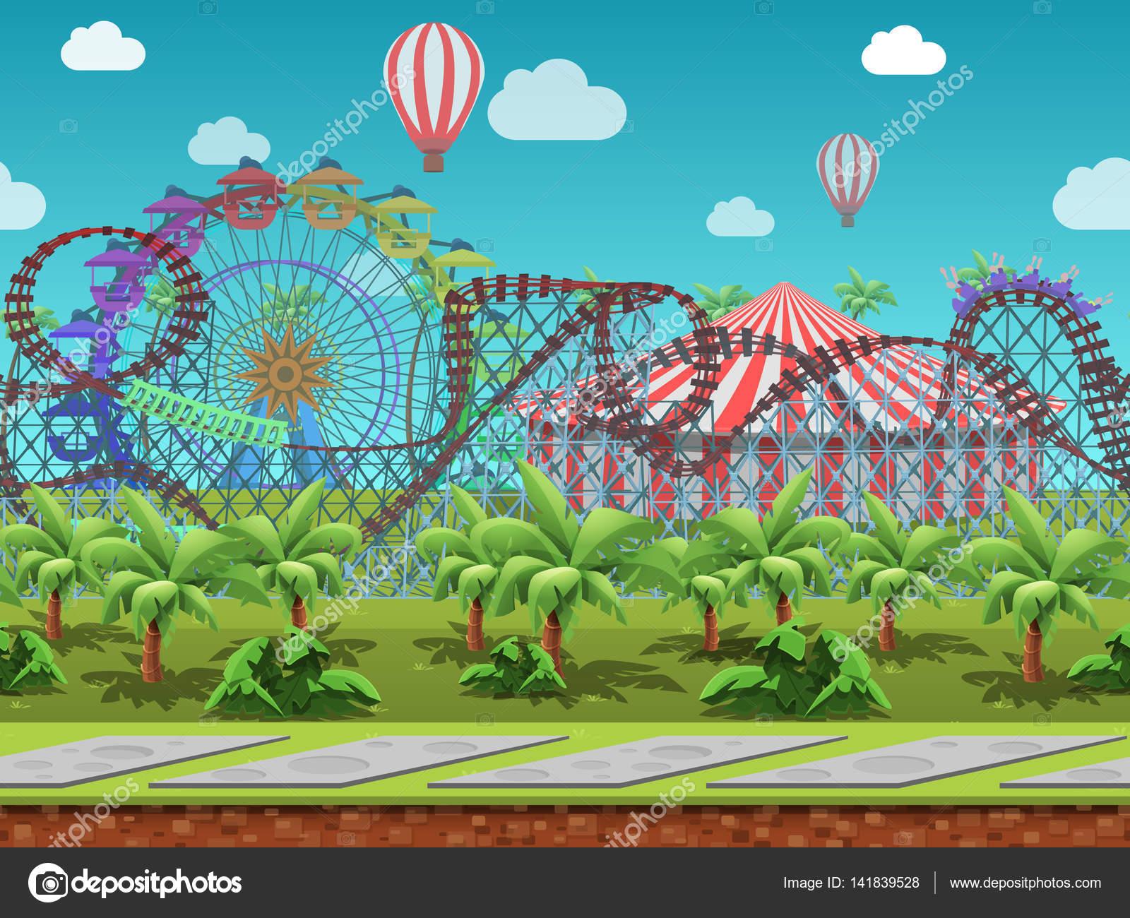 Laminas De Atracciones De Feria Para Pintar: Fondo: Parque De Diversiones Pantalla
