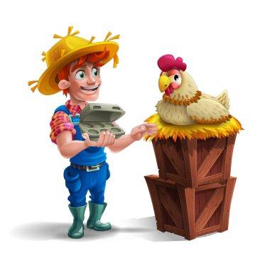 Cartoon farmer in straw hat