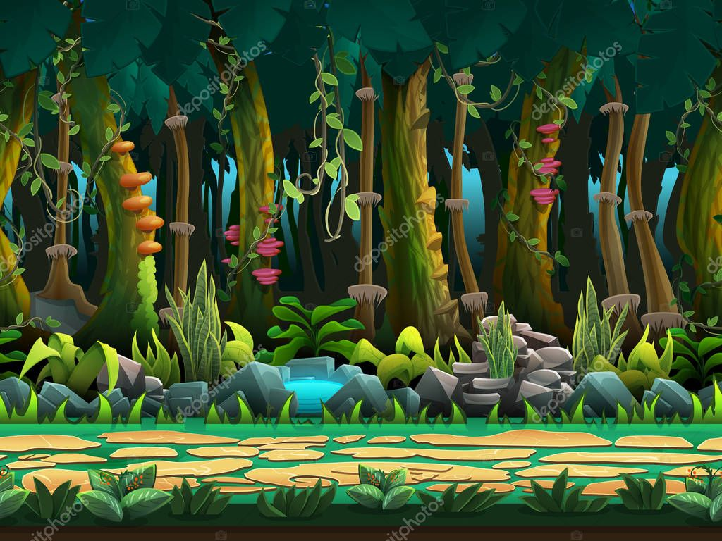 Seamless cartoon jungle