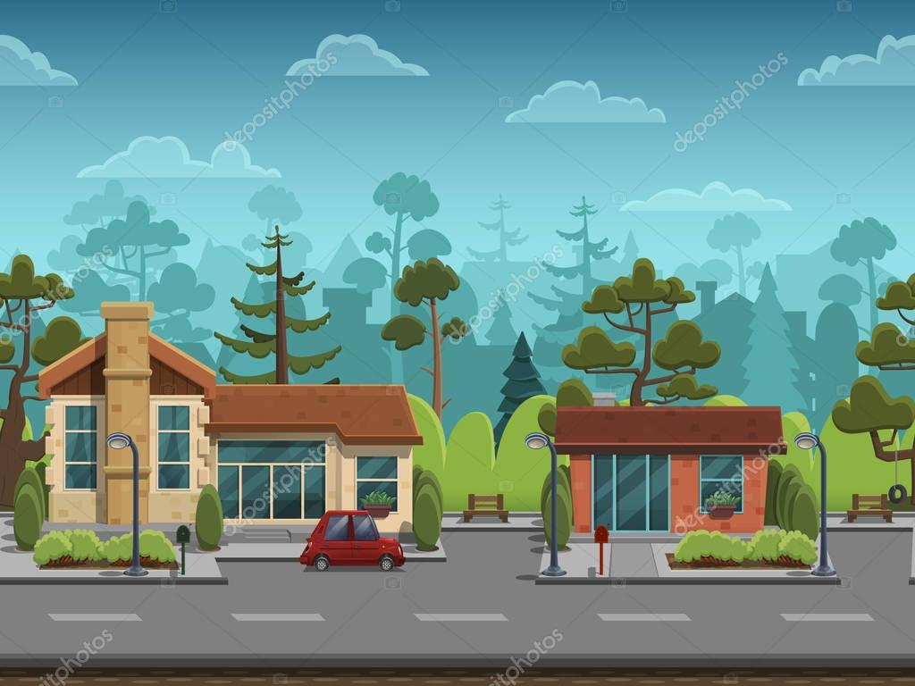 Seamless cartoon street
