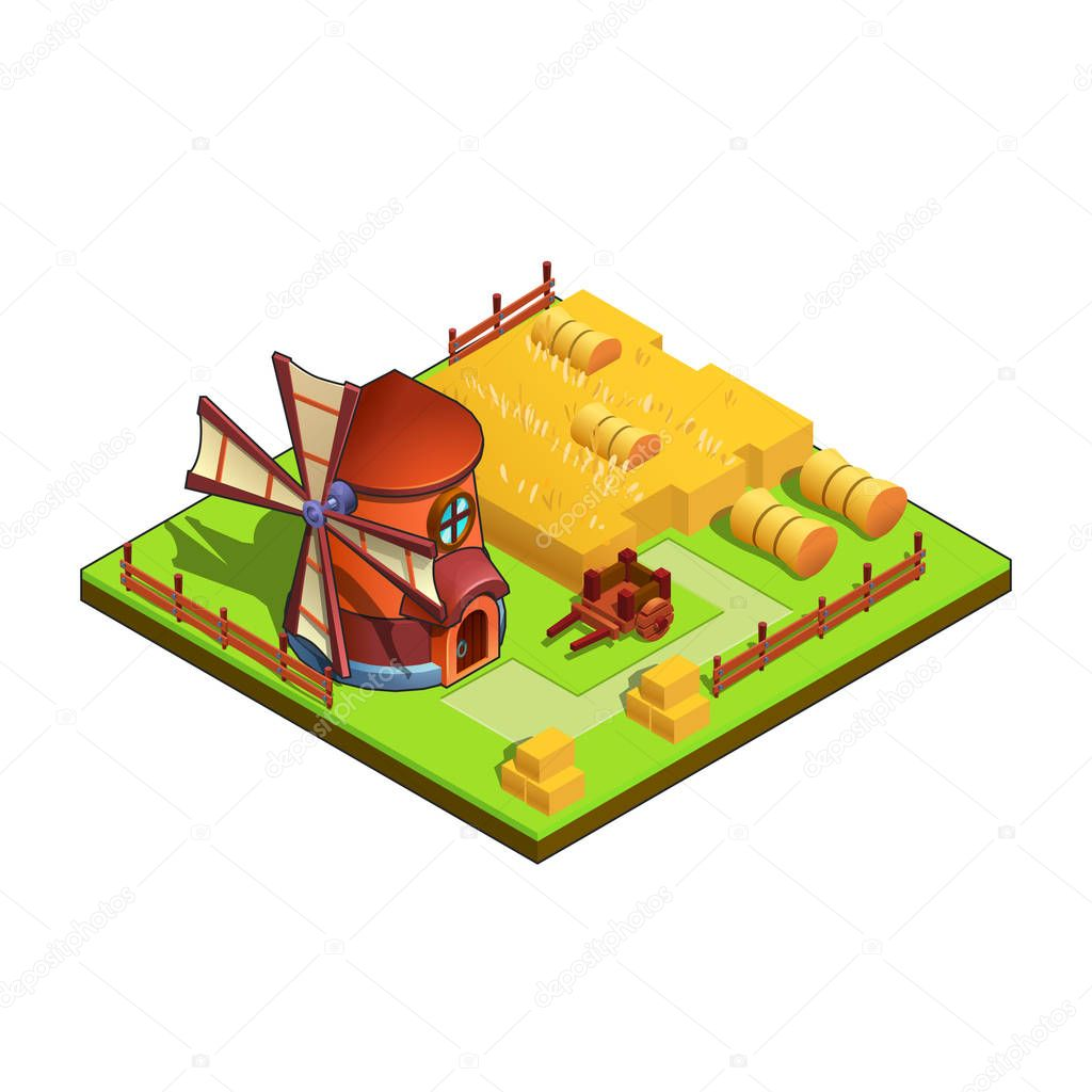Windmill, wheat, wheelbarrow and fence