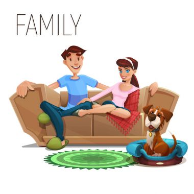 Cute happy family and dog sitting