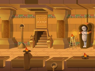 Cartoon landscape inside Egyptian tomb