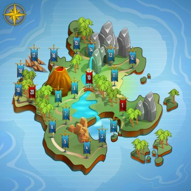 Level maps for game. Example user interface of game. Vector illustration. clip art vector