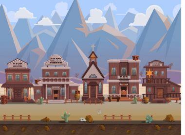cartoon wild west town