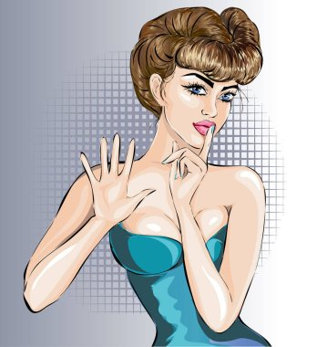 Pin up sexy woman portrait with stop hand signal and silence sign by finger, vector illustration
