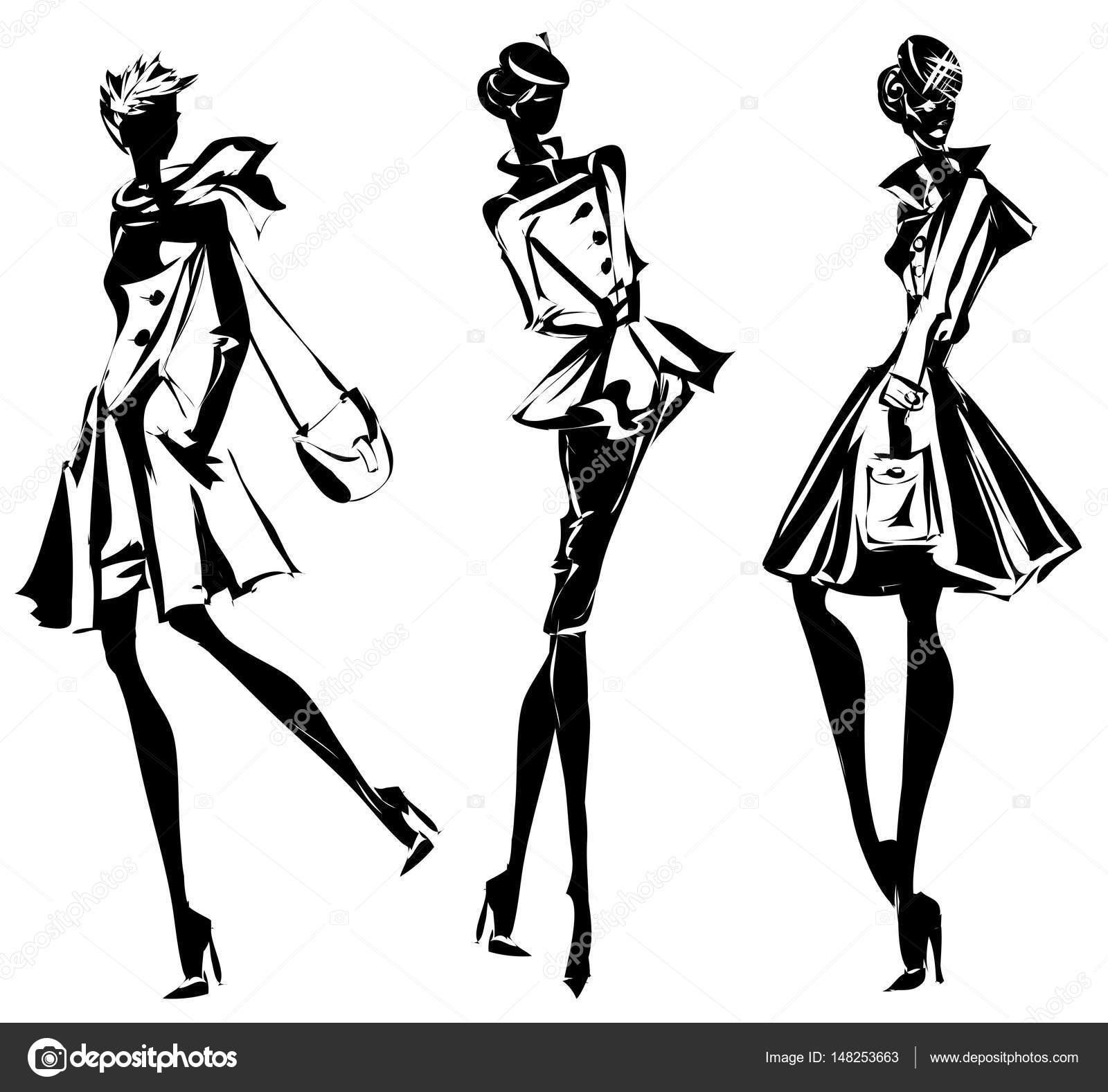 Black and white retro set, fashion models silhouette ...