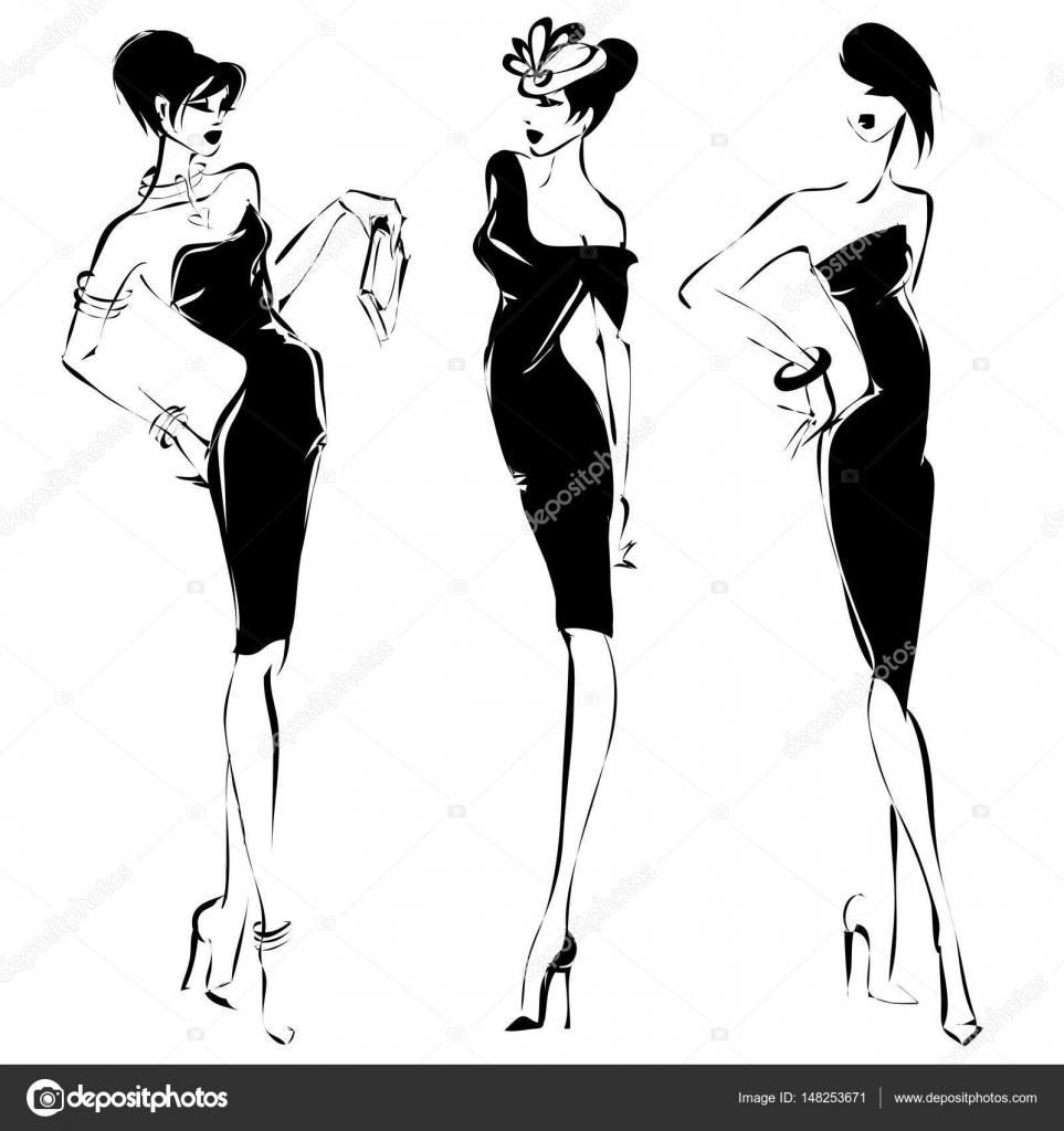 Black And White Retro Set Fashion Models Silhouette Sketch Style Hand Drawn Vector