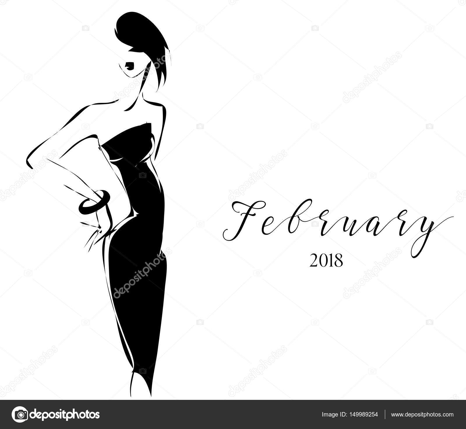 Black And White Fashion Calendar With Woman Model Silhouette Logo