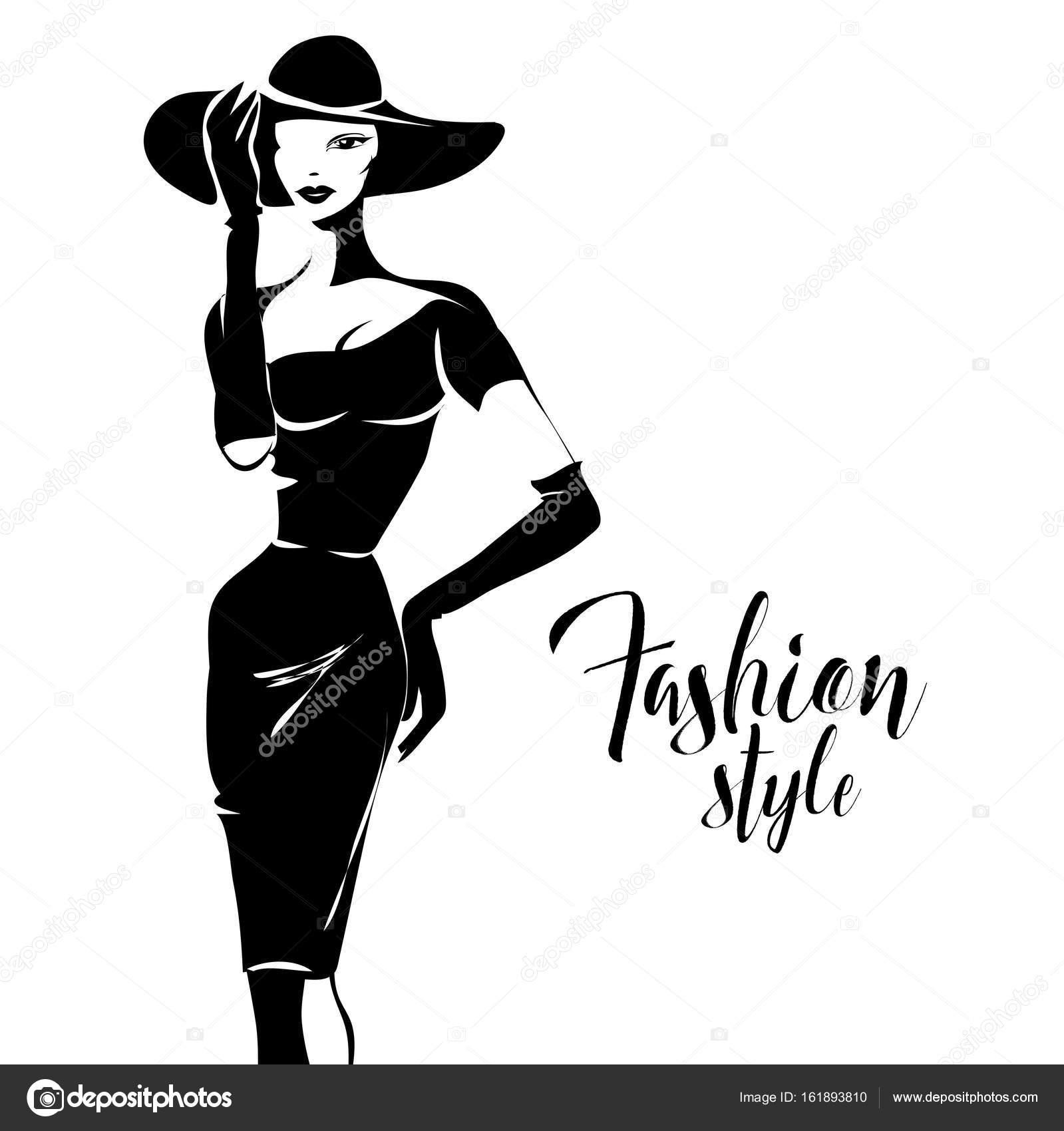 Black and white retro fashion model silhouette sketch ...