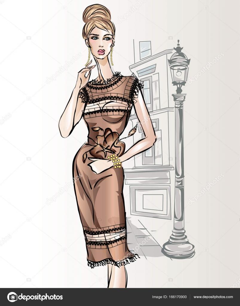 Junge schöne sexy Frau in Skizze Modestil. Elegante Mädchen tragen ...