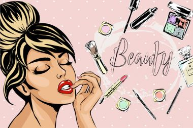Beautiful pin-up style sexy woman with close eyes dreaming about beauty products for makeup. Beauty and fashion industry advertising banner vector