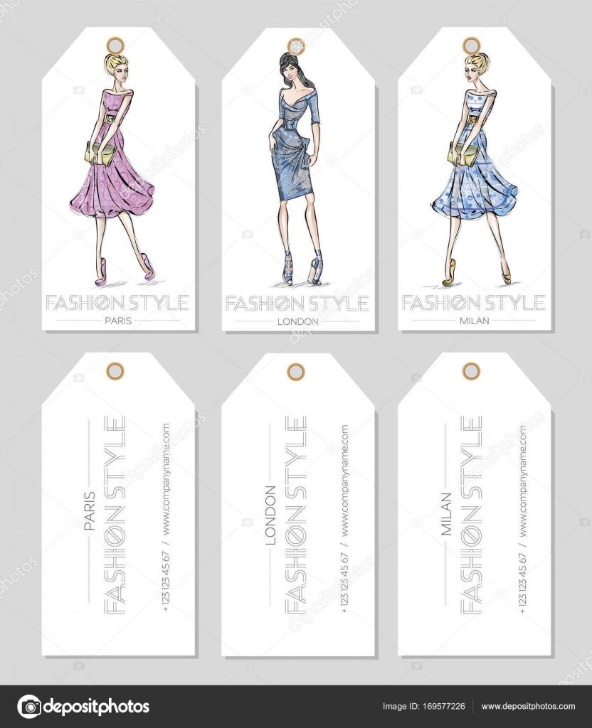 Ensemble De Marques Mode Avec Belle Femme Dans Le Style Croquis Paris Londres Carte Visite Milan Beaut Filles Dessines La Main Vector