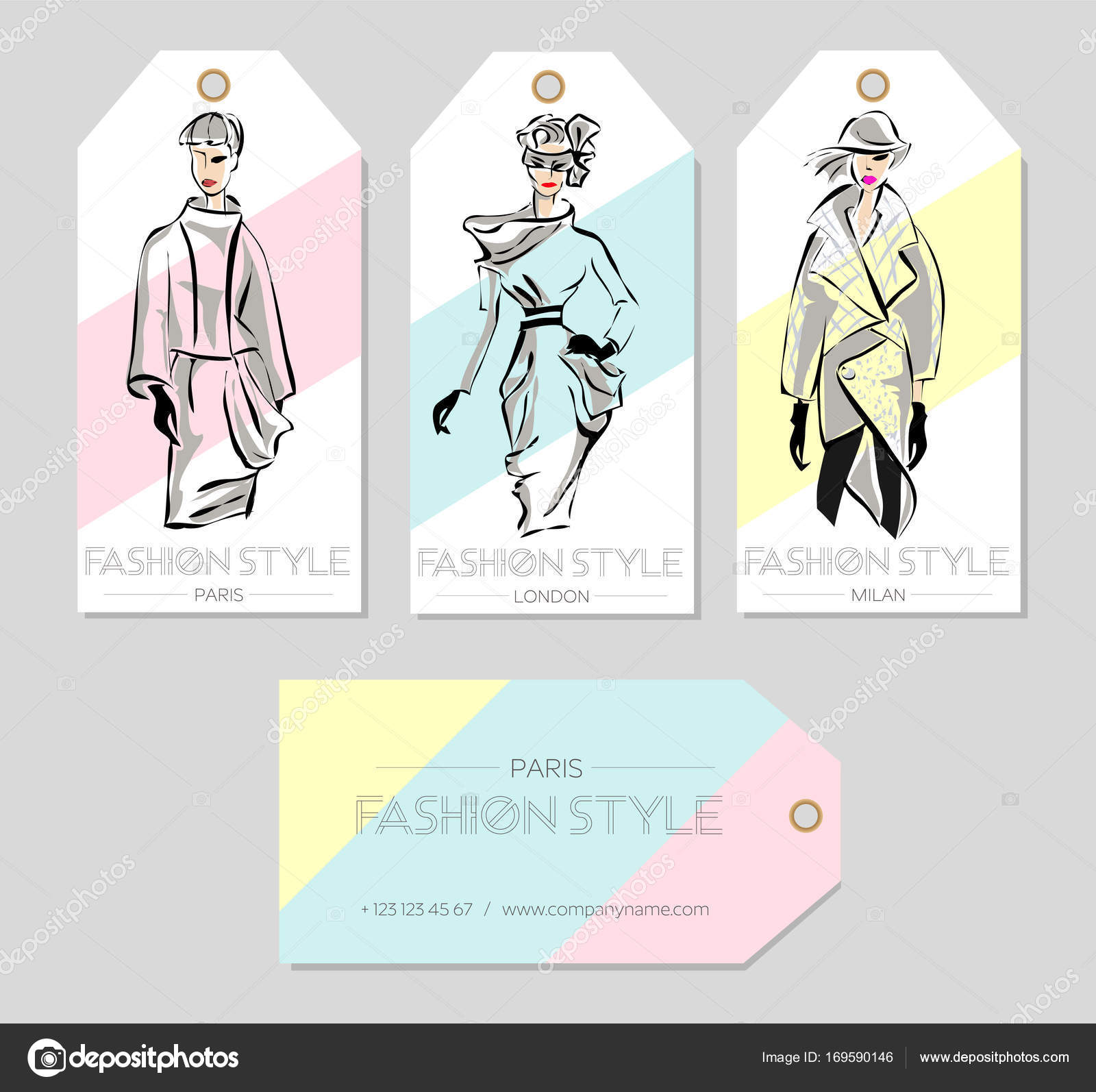 Set of fashion labels with beautiful women in sketch style, Paris ...
