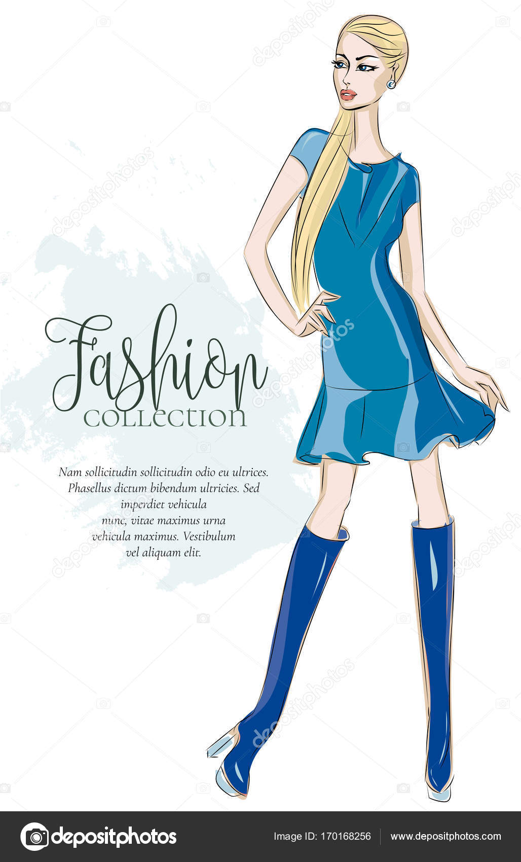 Fashion Girl Wearing Blue Dress Sketch Style Woman Model With Text