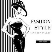 Fotografie Schwarz / weiß Mode Verkauf Banner mit Frauen-Mode-Silhouette, Online-shopping social-Media-anzeigen-Web-Vorlage mit schönen Mädchen. Vektor-illustration