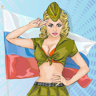 Sexy girl in military uniform with russian national flag, 23 february, vector illustration social media banner