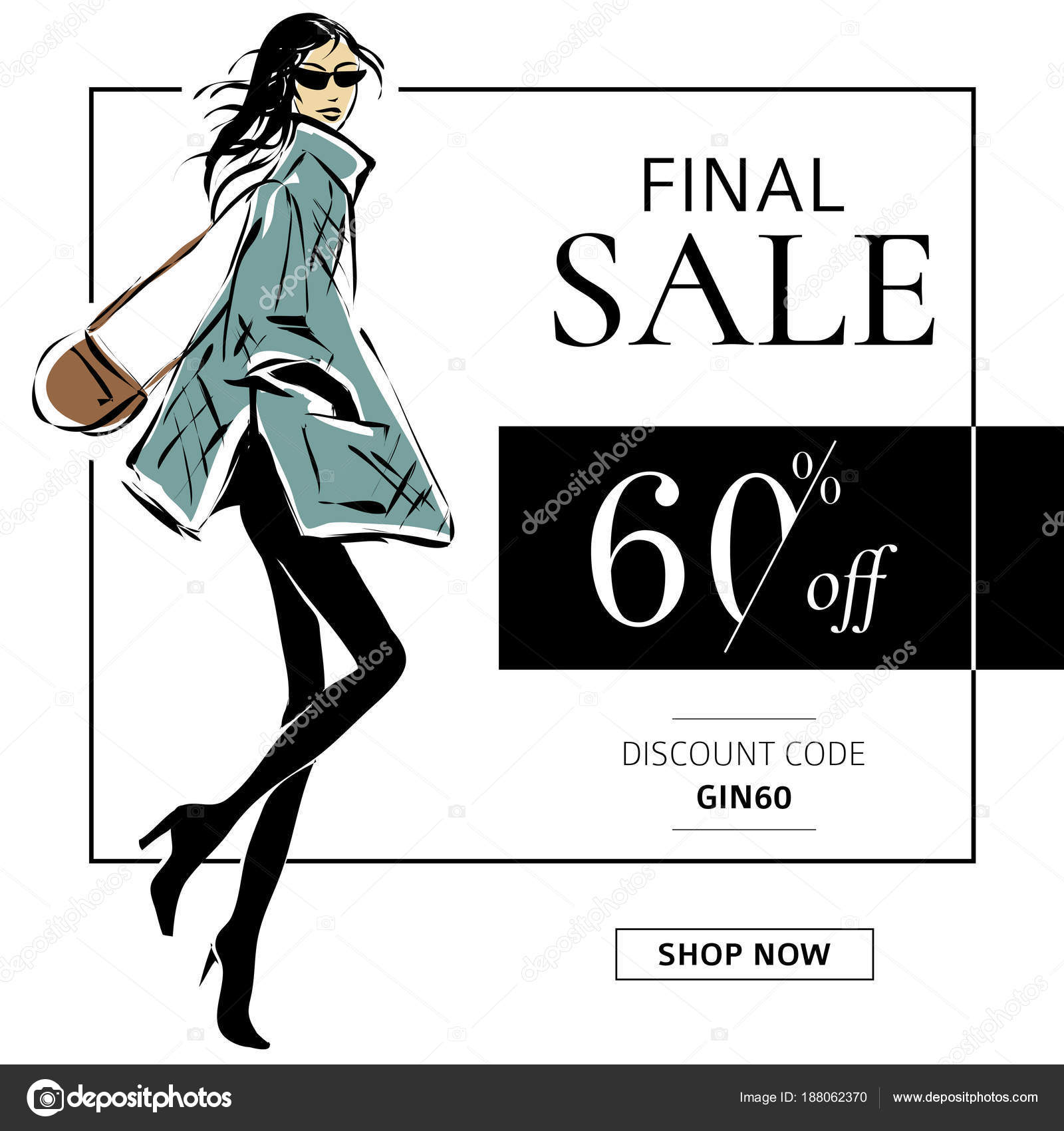 Black And White Fashion Sale Banner With Woman Fashion Silhouette